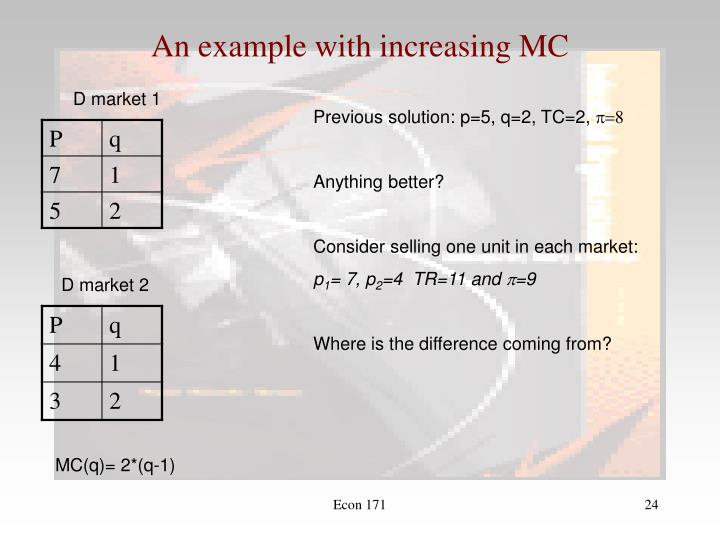 An example with increasing MC
