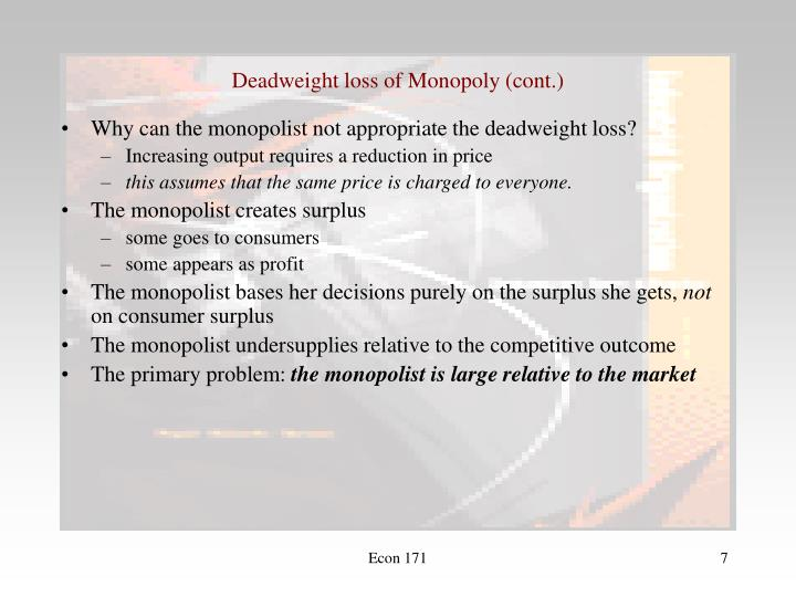 Deadweight loss of Monopoly (cont.)