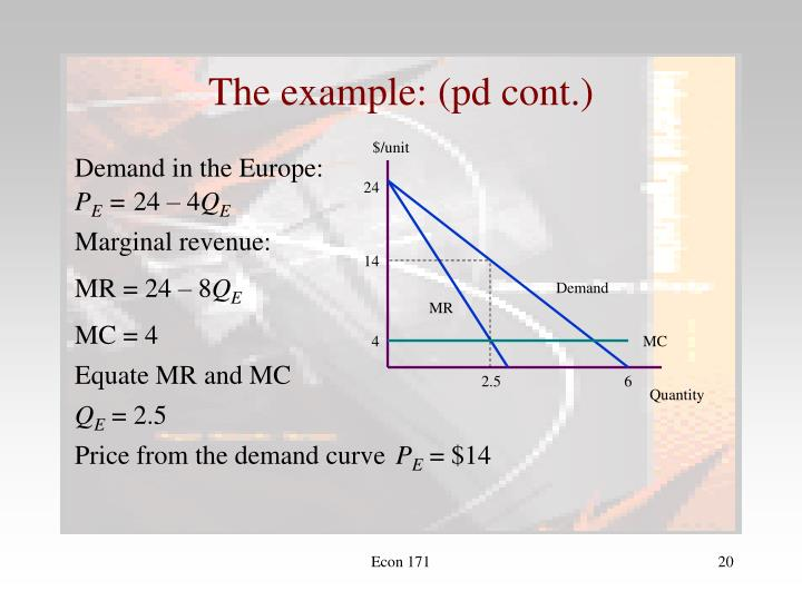 The example: (pd cont.)