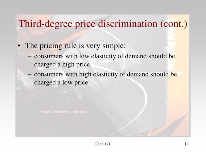 Third-degree price discrimination (cont.)