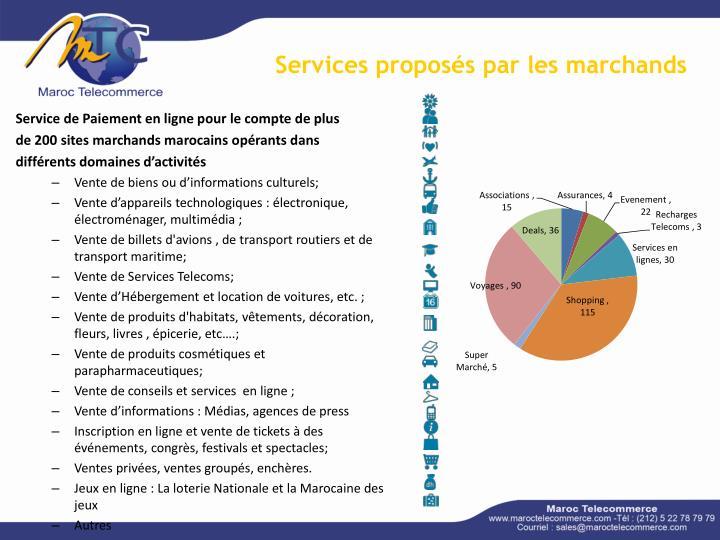 Services proposés par les marchands