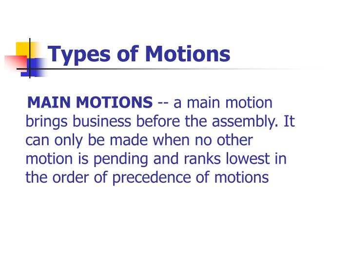 Types of Motions