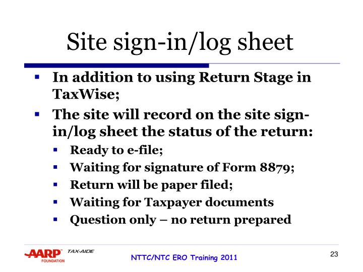 Site sign-in/log sheet