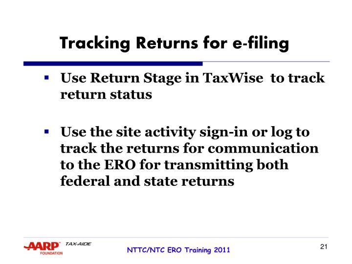 Tracking Returns for e-filing
