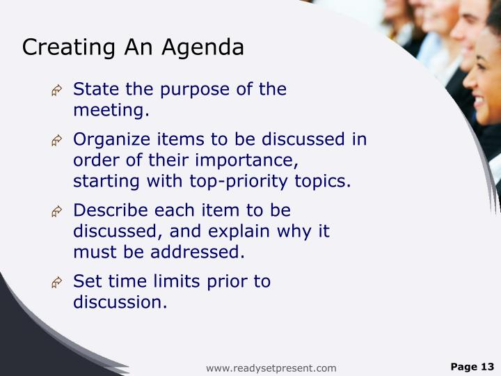 Creating An Agenda