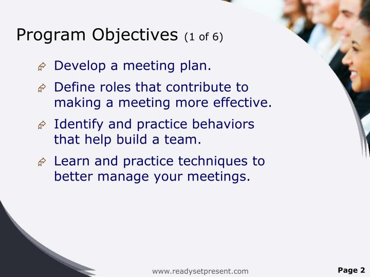 Program objectives 1 of 6