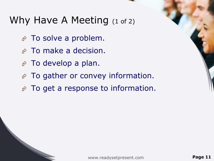 Why Have A Meeting