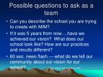 possible questions to ask as a team