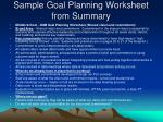 sample goal planning worksheet from summary