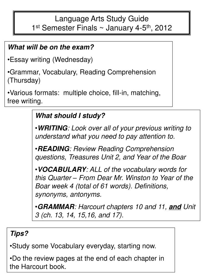 language arts study guide 1 st semester finals january 4 5 th 2012 n.