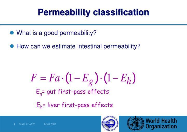 Permeability classification