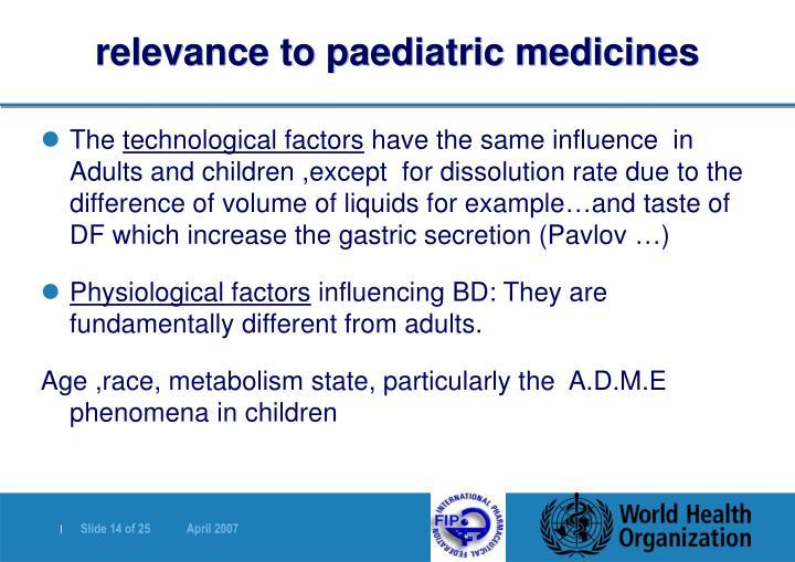 relevance to paediatric medicines