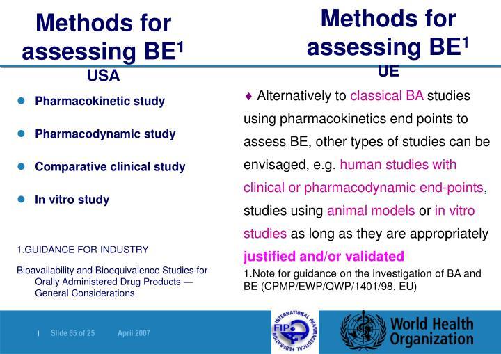 Methods for assessing BE