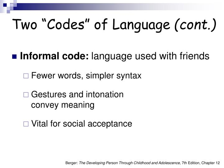 """Two """"Codes"""" of Language"""