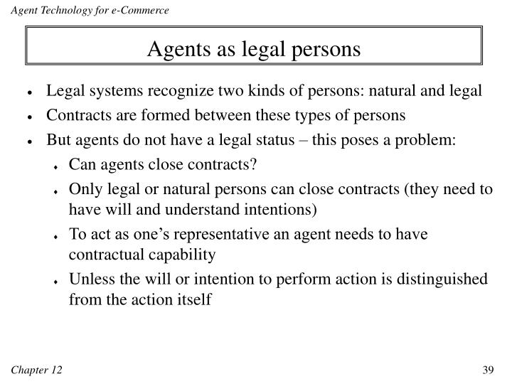Agents as legal persons