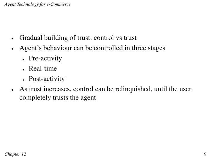 Gradual building of trust: control vs trust