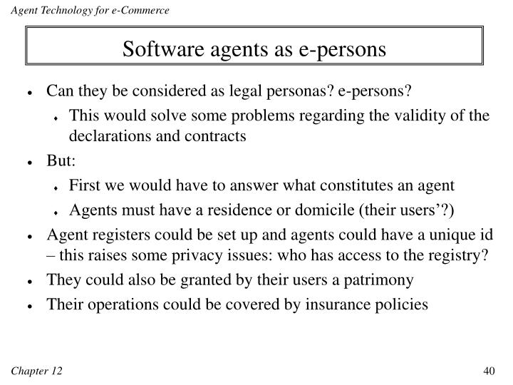 Software agents as e-persons