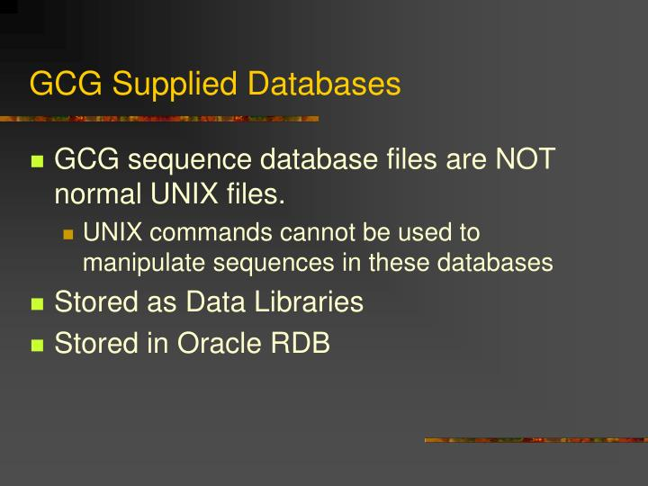 GCG Supplied Databases
