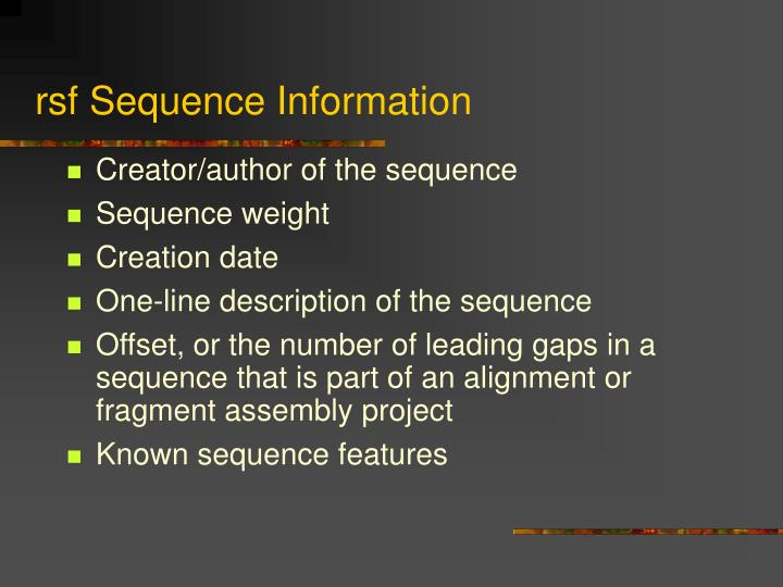 rsf Sequence Information