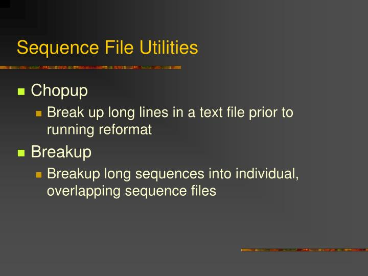 Sequence File Utilities