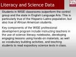 literacy and science data