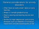 general considerations for anxiety disorders