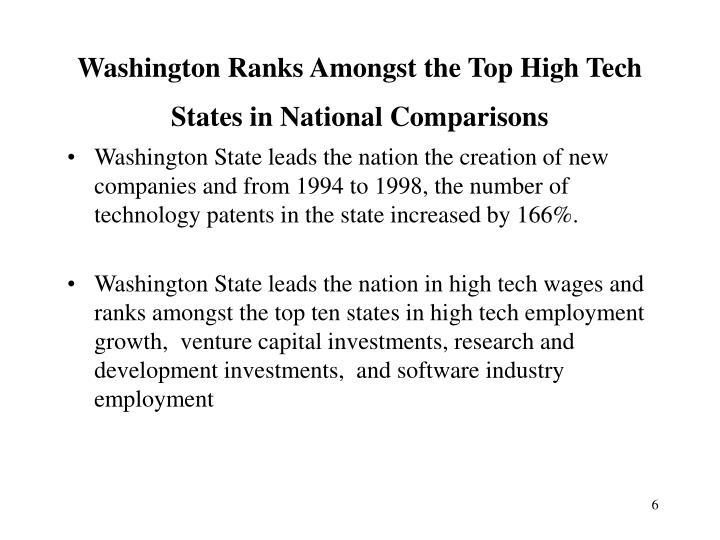 Washington Ranks Amongst the Top High Tech  States in National Comparisons