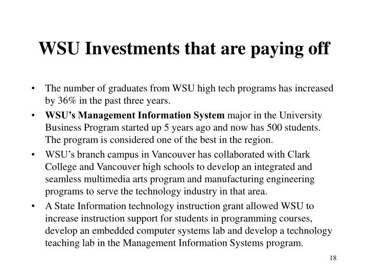 WSU Investments that are paying off