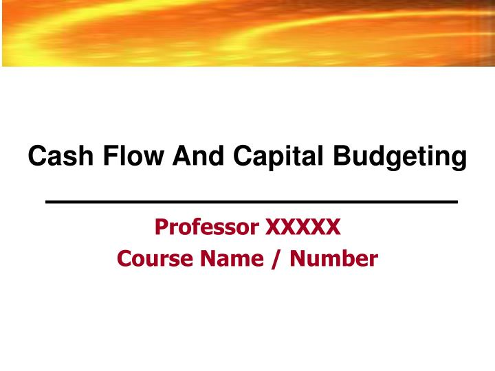 cash flow and capital budgeting n.