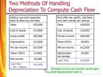 two methods of handling depreciation to compute cash flow
