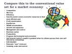compare this to the conventional value set for a market economy