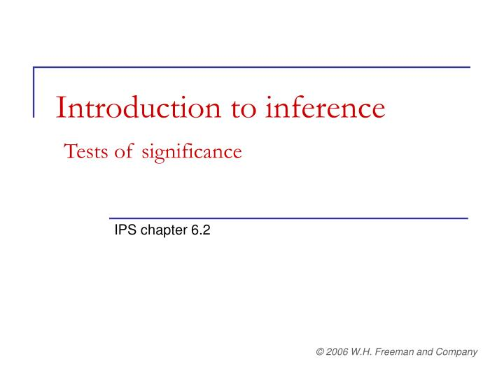 introduction to inference tests of significance n.