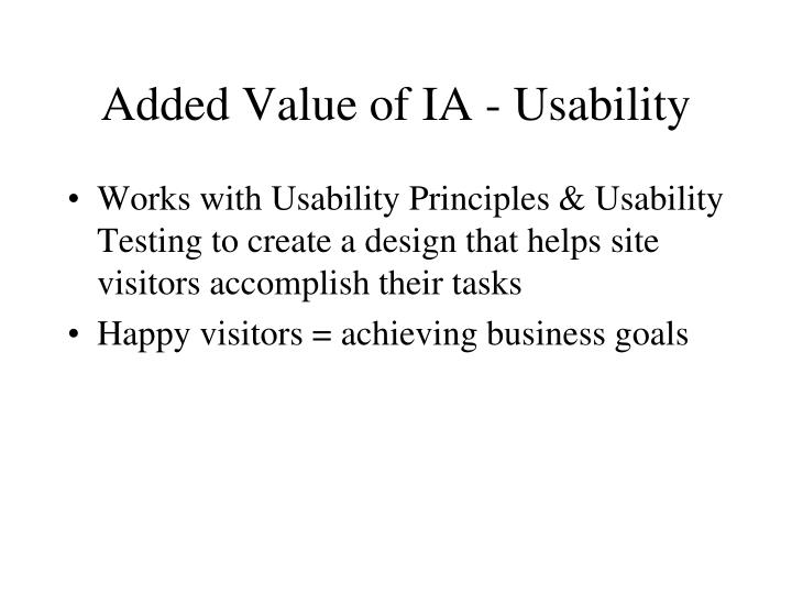 Added Value of IA - Usability