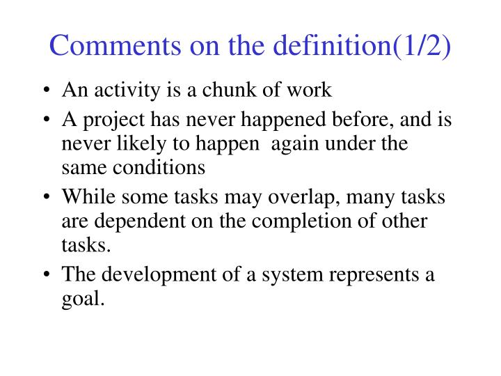 Comments on the definition(1/2)
