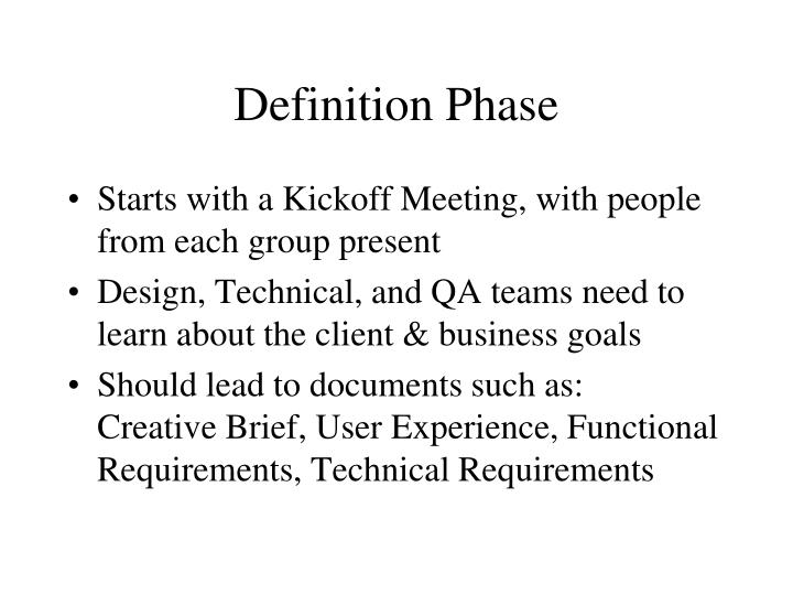 Definition Phase