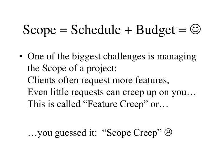 Scope = Schedule + Budget =