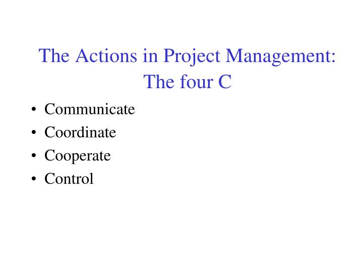 The Actions in Project Management:
