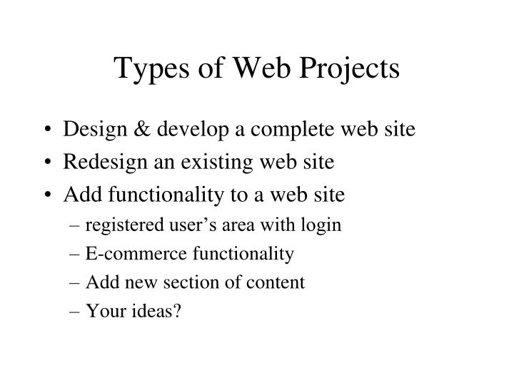Types of Web Projects
