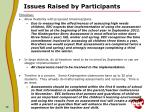 issues raised by participants3