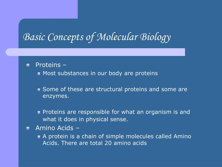 Basic Concepts of Molecular Biology