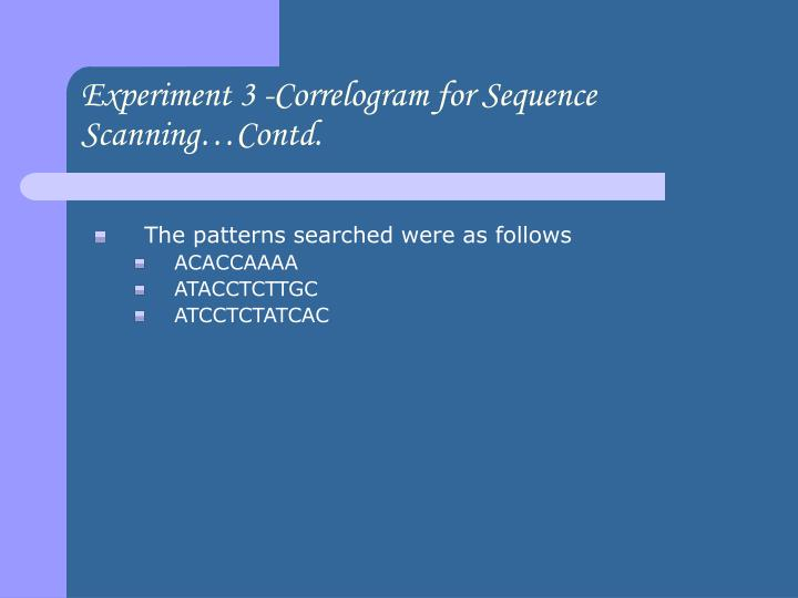 Experiment 3 -Correlogram for Sequence Scanning…Contd.
