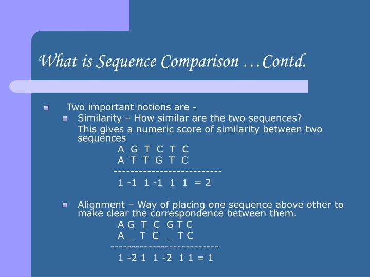 What is sequence comparison contd
