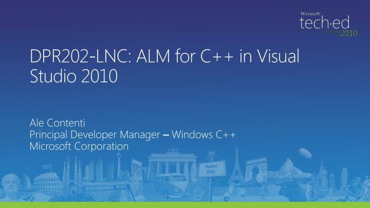 Dpr202 lnc alm for c in visual studio 2010