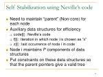 self stabilization using neville s code