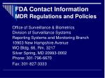 fda contact information mdr regulations and policies