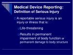 medical device reporting definition of serious injury