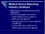 medical device reporting industry guidance