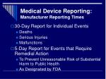 medical device reporting manufacturer reporting times