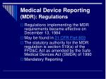 medical device reporting mdr regulations