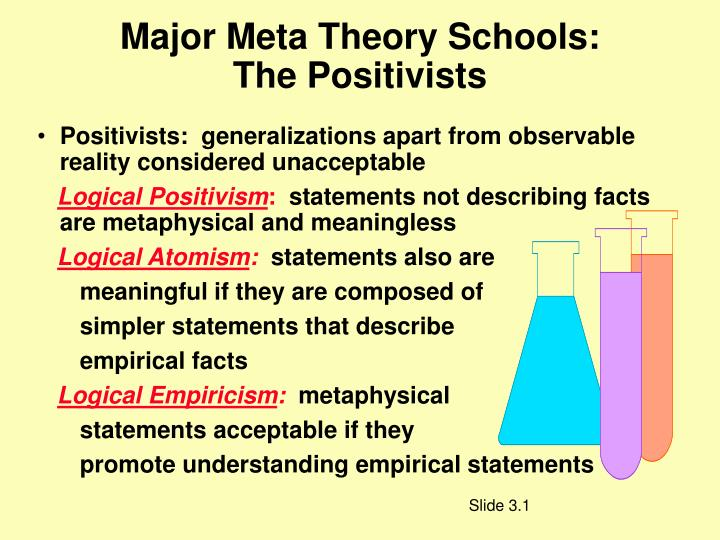 major meta theory schools the positivists n.